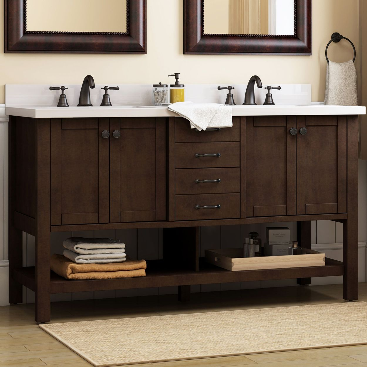 Allen Roth Kingscote 60 In Espresso Double Sink Bathroom Vanity With White Engineered Stone Top Lowes Com Bathroom Vanity Double Sink Bathroom Vanity Double Sink Bathroom
