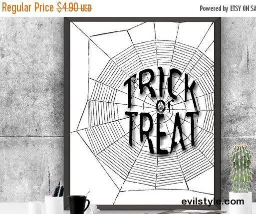 Halloween Decor Trick or Treat Halloween Art Print Web Halloween Poster  Instant Download  Printable Art Halloween Art Print Autu - http://evilstyle.com/halloween-decor-trick-or-treat-halloween-art-print-web-halloween-poster-instant-download-printable-art-halloween-art-print-autu