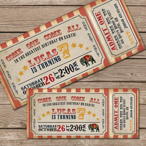 40 Ejemplos de invitaciones para fiestas infantiles Circus party - food tickets template