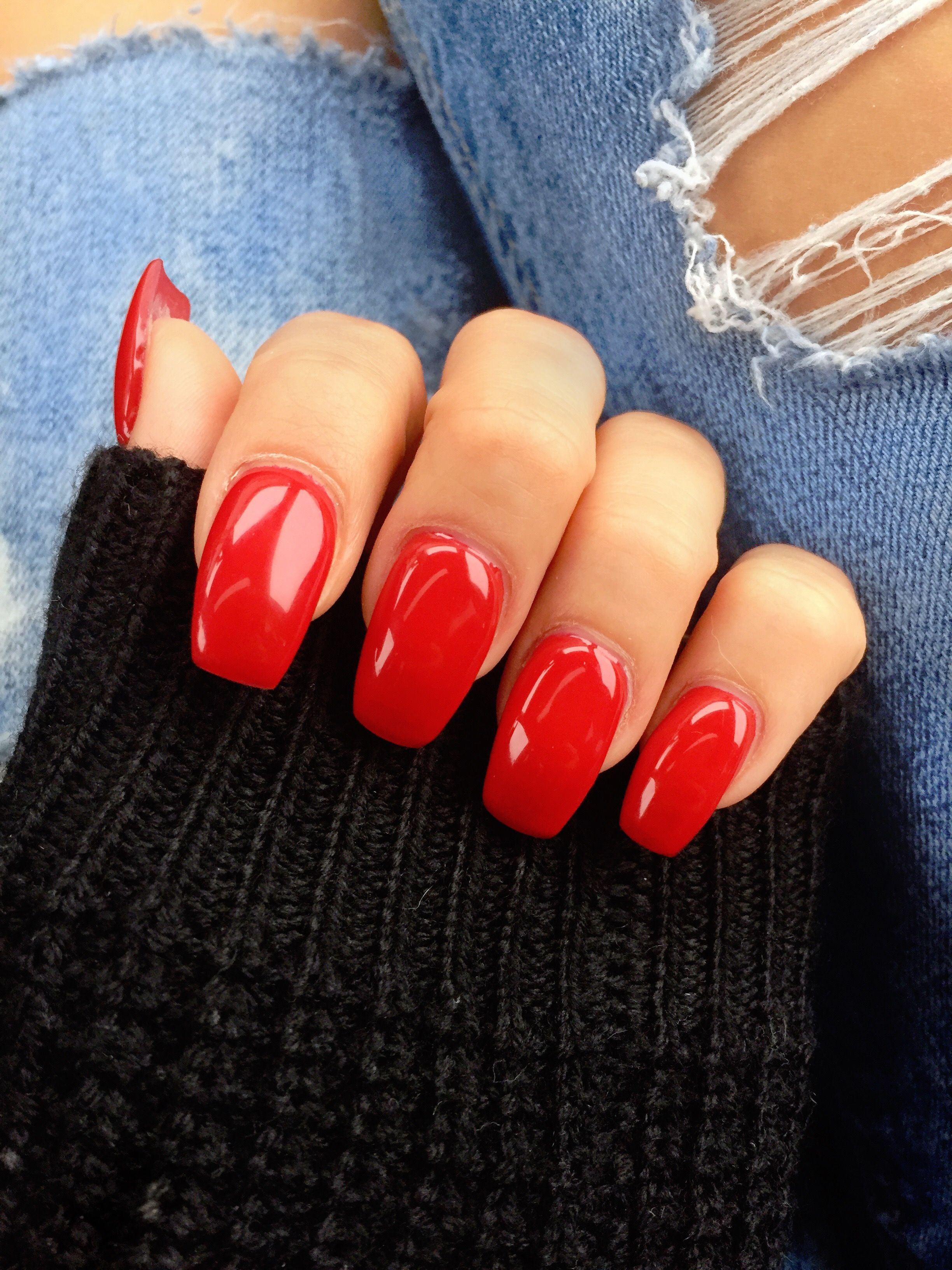 Medium Length Monroe Red Coffin Ballerina Gel Nails T Red Gel Nails Ballerina Gel Nails Red Acrylic Nails