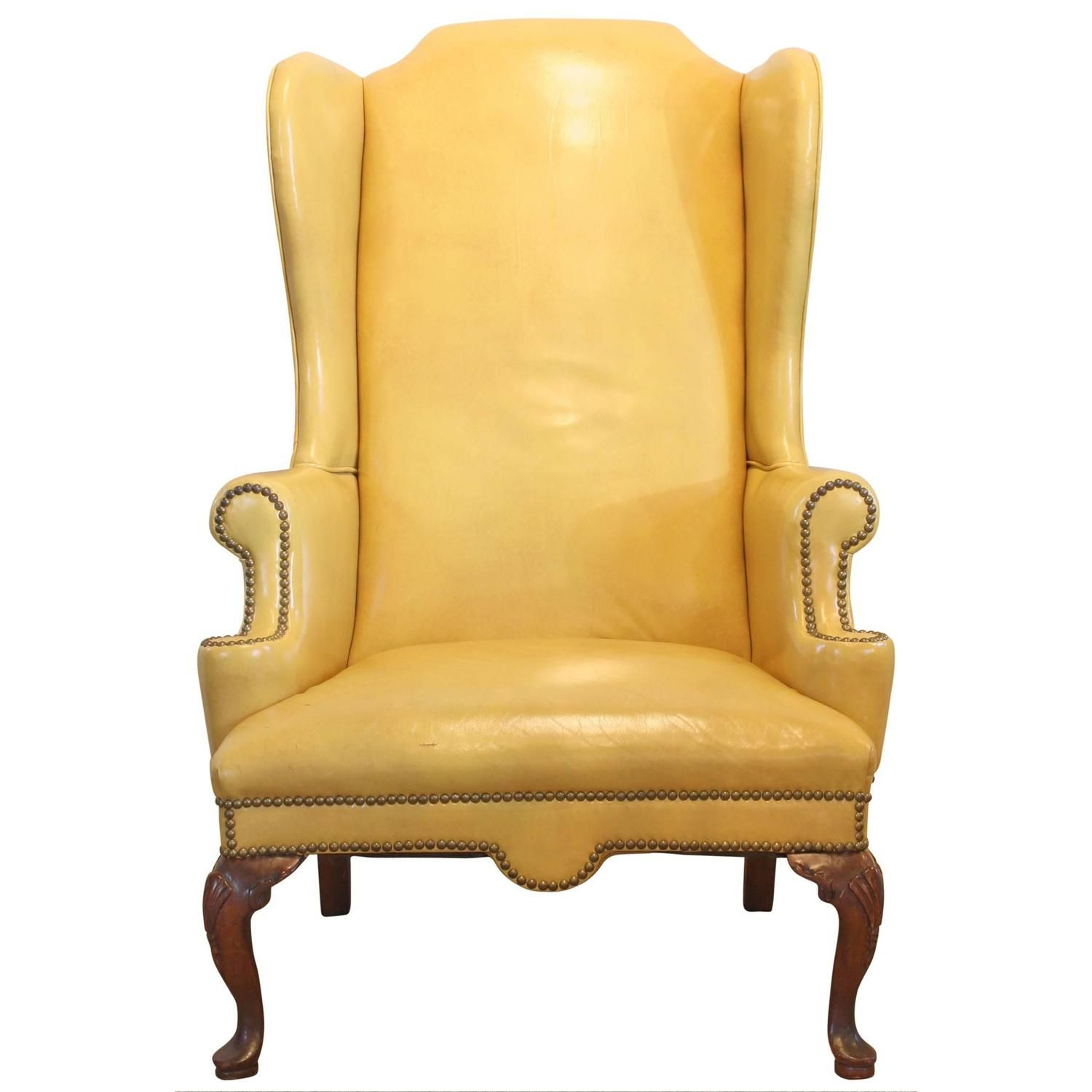Lovely Mustard Yellow Leather Wing Chair