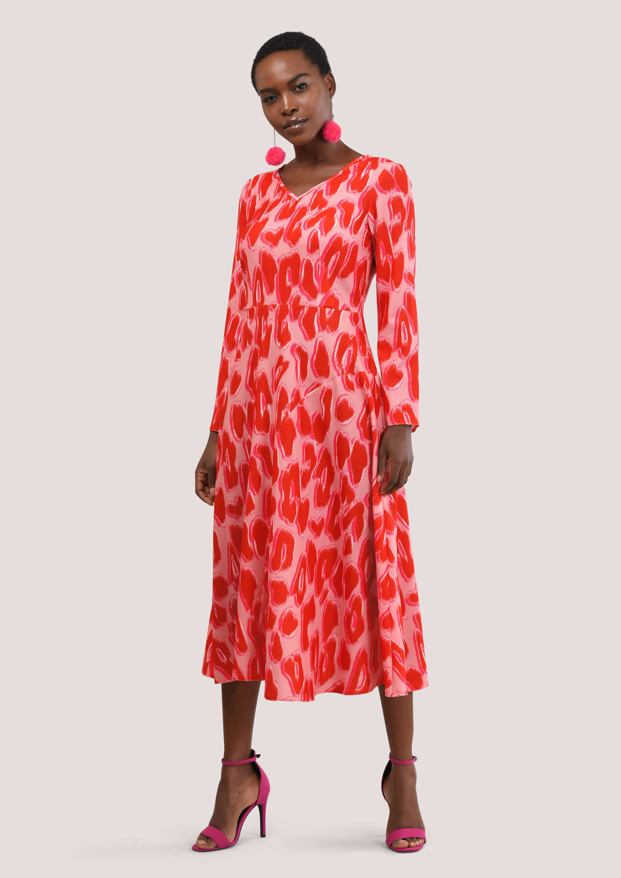 ae05de61be Pink Leopard Print Asymmetric Dress With Panel - Dresses - Clothing ...