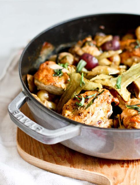 Chicken with Braised Artichokes, Leeks and Tarragon