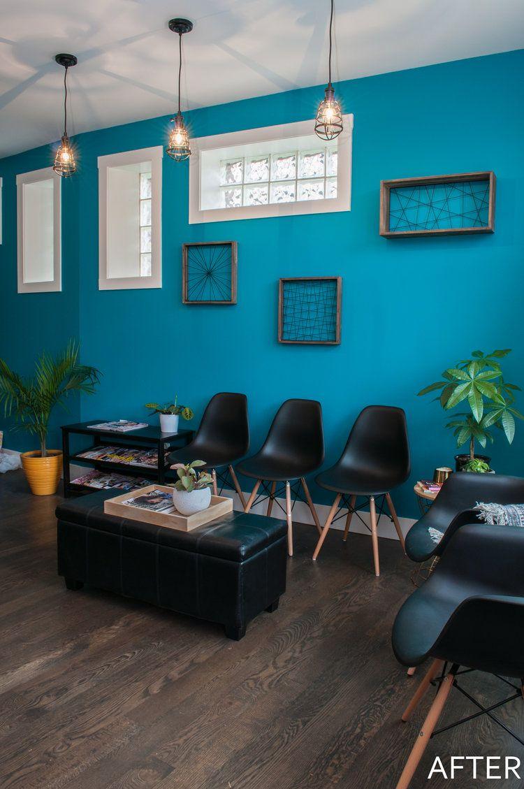 Hair Salon Waiting Area Bold Teal Accent Wall And Black Eiffel
