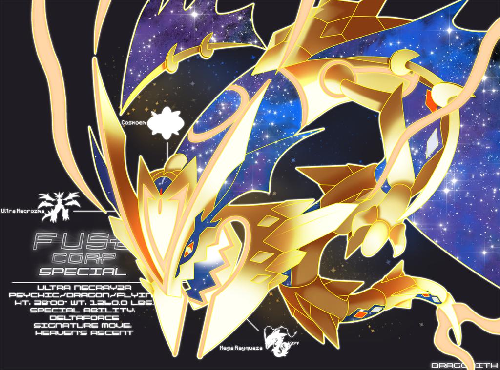 Ultra Necrayza U Necrozma M Rayquaza Cosmoem Psychic Dragon Flying Classification Cosmic Dragon God F Pokemon Rayquaza Pokemon Fusion Art Pokemon Human Form