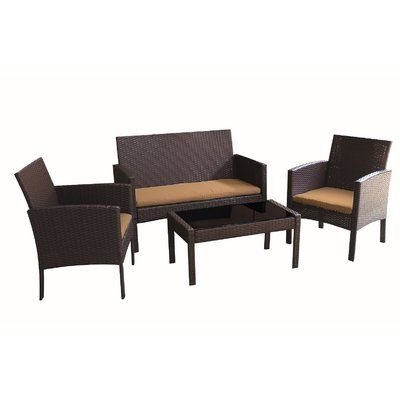 August Grove Mangum 3 Piece Conversation Set With Cushions Reviews Wayfair Sofa Set Outdoor Sofa Sets Patio Seating