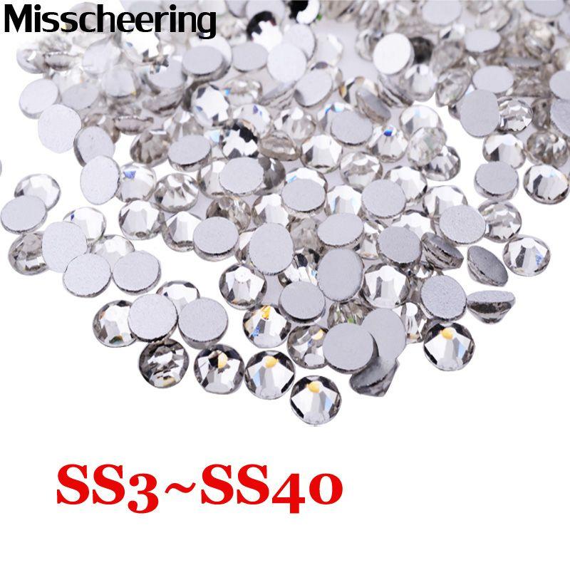 SS3-SS40 Nail art Strass Glitter Crystal Clear Nicht Hotfix Flache Rückseite Steine, DIY Strass Nagel Dekoration Zubehör
