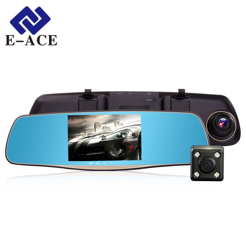 E-ACE Car DVRs Full HD 1080P 5.0 Inch Auto Camera Rearview Mirror With Dual Lens Video Registratory Dash Camcorder Night Vision