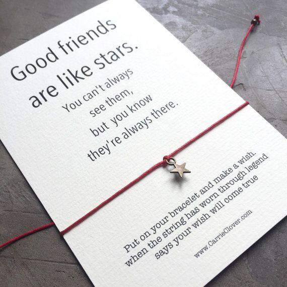 Best Friend Birthday Gift Good Friends Are Like Stars, Long Distance Friendship Sterling Silver Good Friends Wish Bracelet