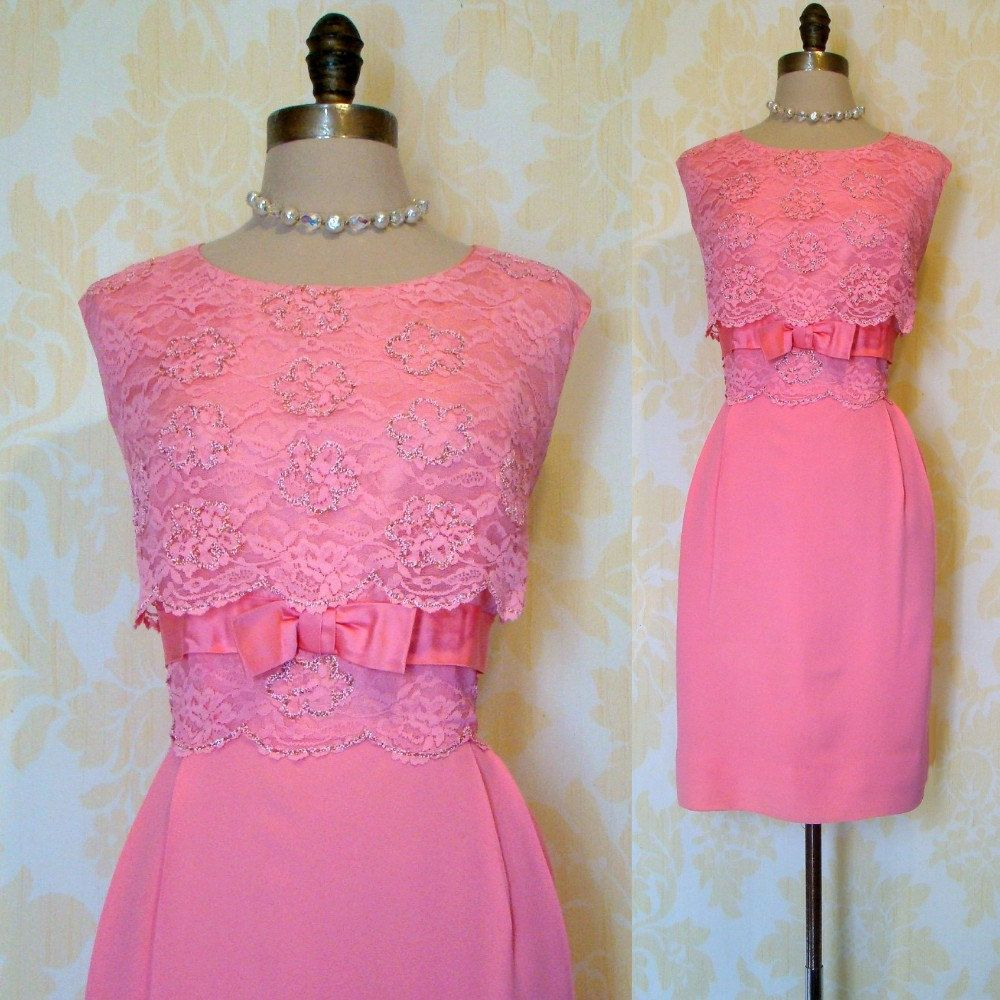 Vintage 60s Sparkling Salmon Lace Wiggle Party Dress Prom Cocktail L ...
