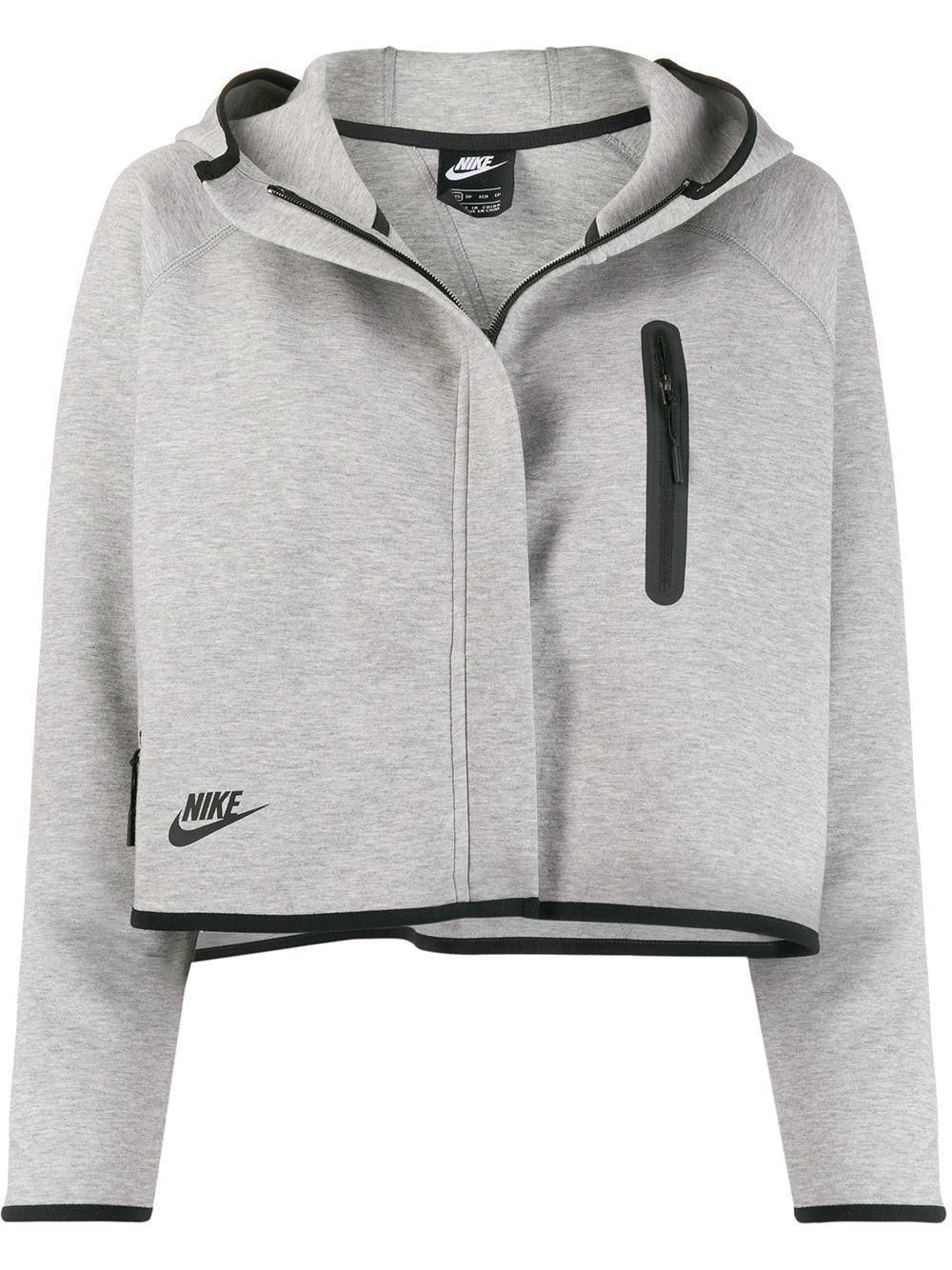 Nike Tech Fleece cropped hooded jacket Grey in 2020