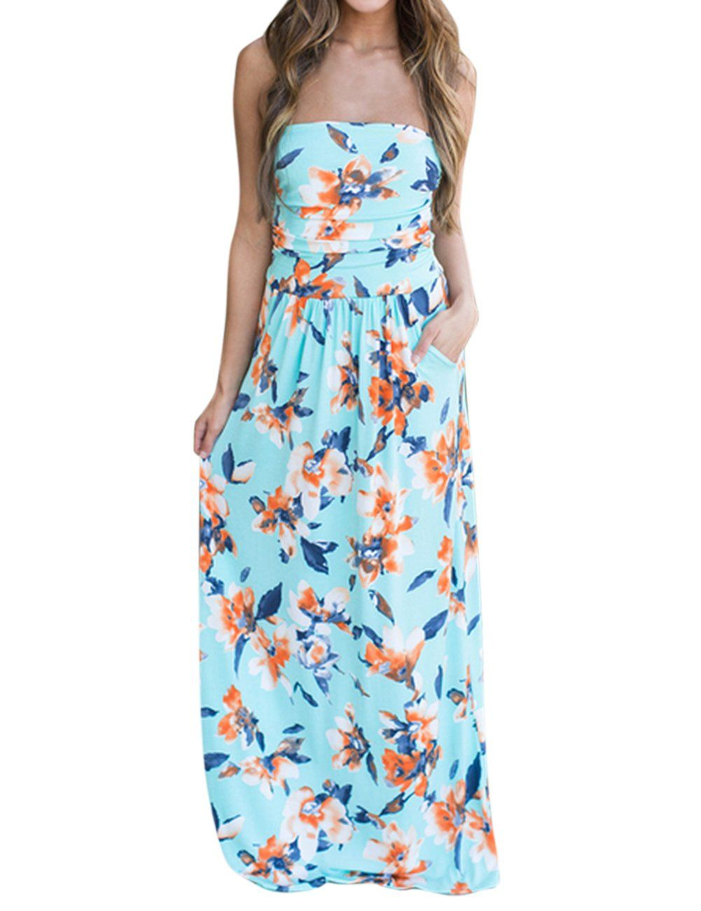 info for 65472 feeb4 Yiwa Women Ruched Strapless Maxi Vintage Floral Print Long Dress Sky Blue M      For more information, visit image link. (This is an affiliate link)