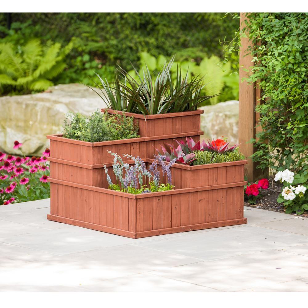 Leisure Season Wooden Multi Level Planter Mlp3232 Raised Garden Beds Cedar Raised Garden Beds Cedar Planter Box