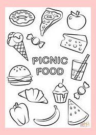 picnic food coloring page free printable coloring pages | 8063 in 2020 | kinderfarben