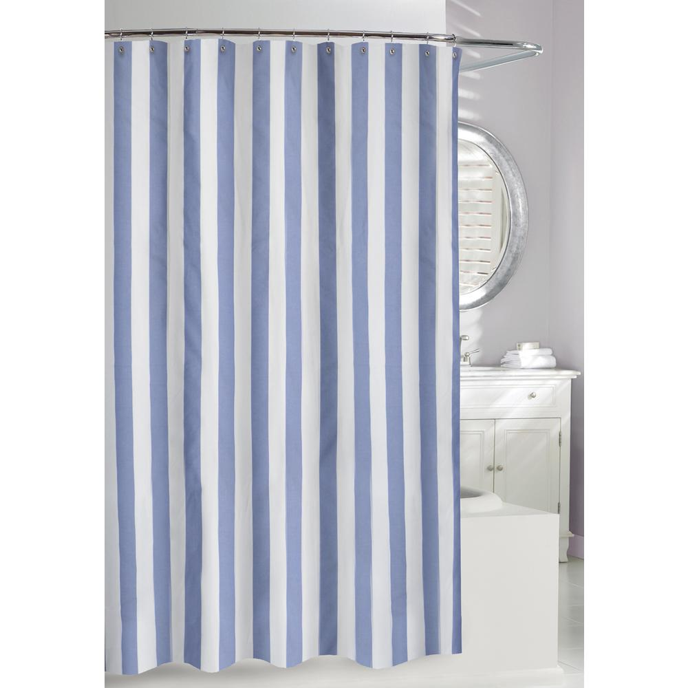 Moda At Home Lauren Stripe 71 In Blue And White Fabric Shower