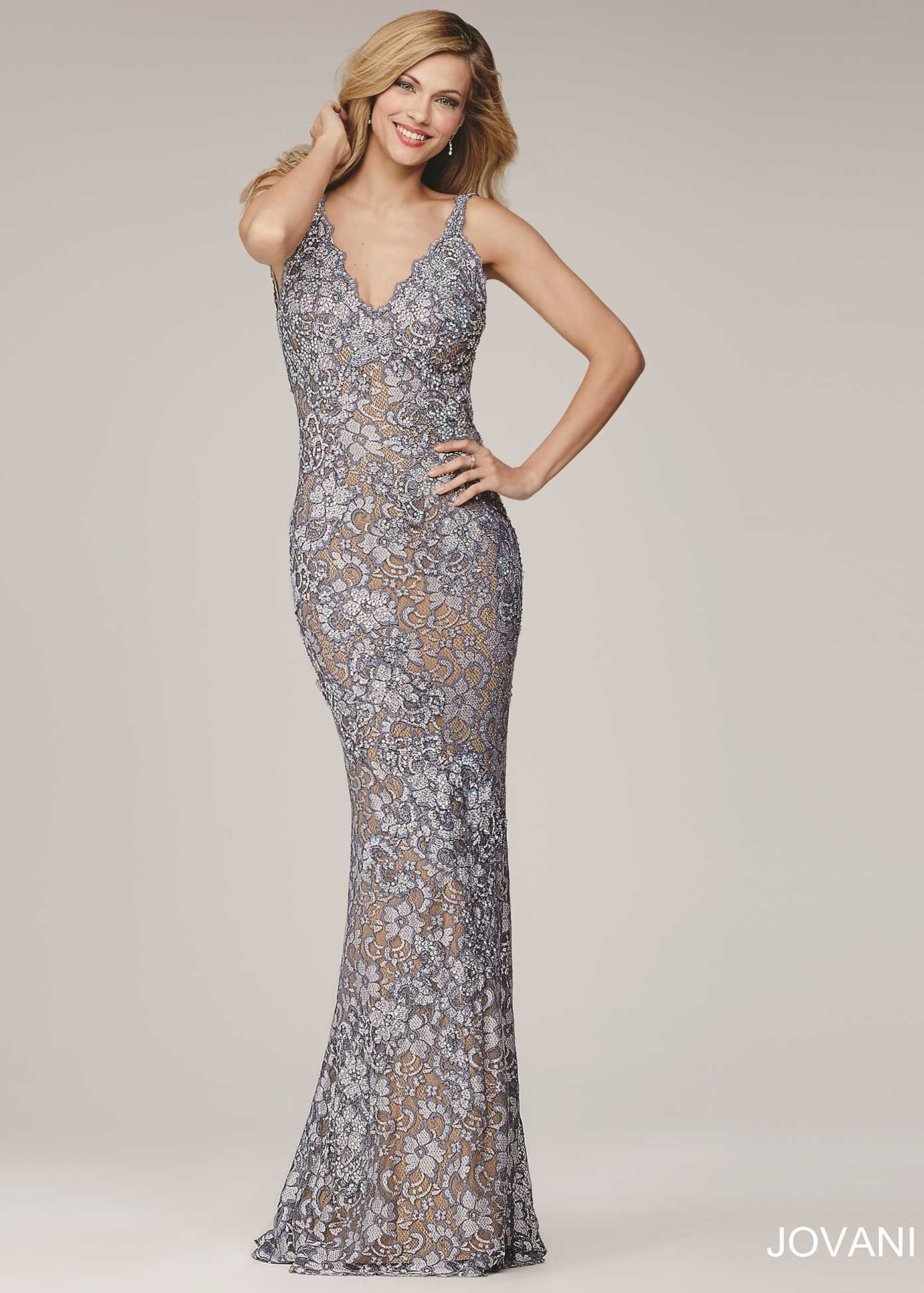 Jovani 26533 Silver/Nude Magnificent Stretch Lace Open Back Dress ...