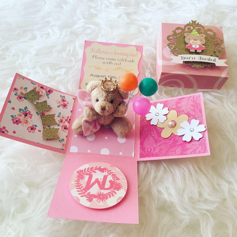 4. Explosion box handmade birthday card for sister Baby