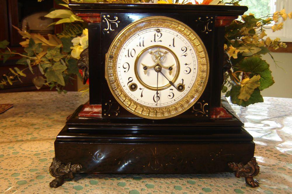 Antique ansonia iron mantle clockmodel la duchesseexceptional