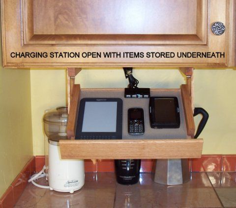 Built In Cell Phone Charging Stations | Ultimate Charging Station Usa Made  · Kitchen Cabinet ...