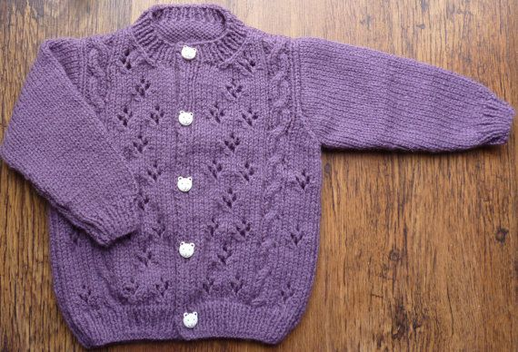a908a83c3246 Hand Knitted Traditional Round Neck Purple Baby Cardigan Sweater 12 ...
