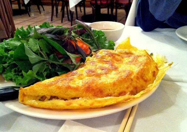 Vietnamese crepe at Nam Phuong, recommended by friends as an appetizer. Pork, shrimp, rice, veggies and other deliciousness inside.