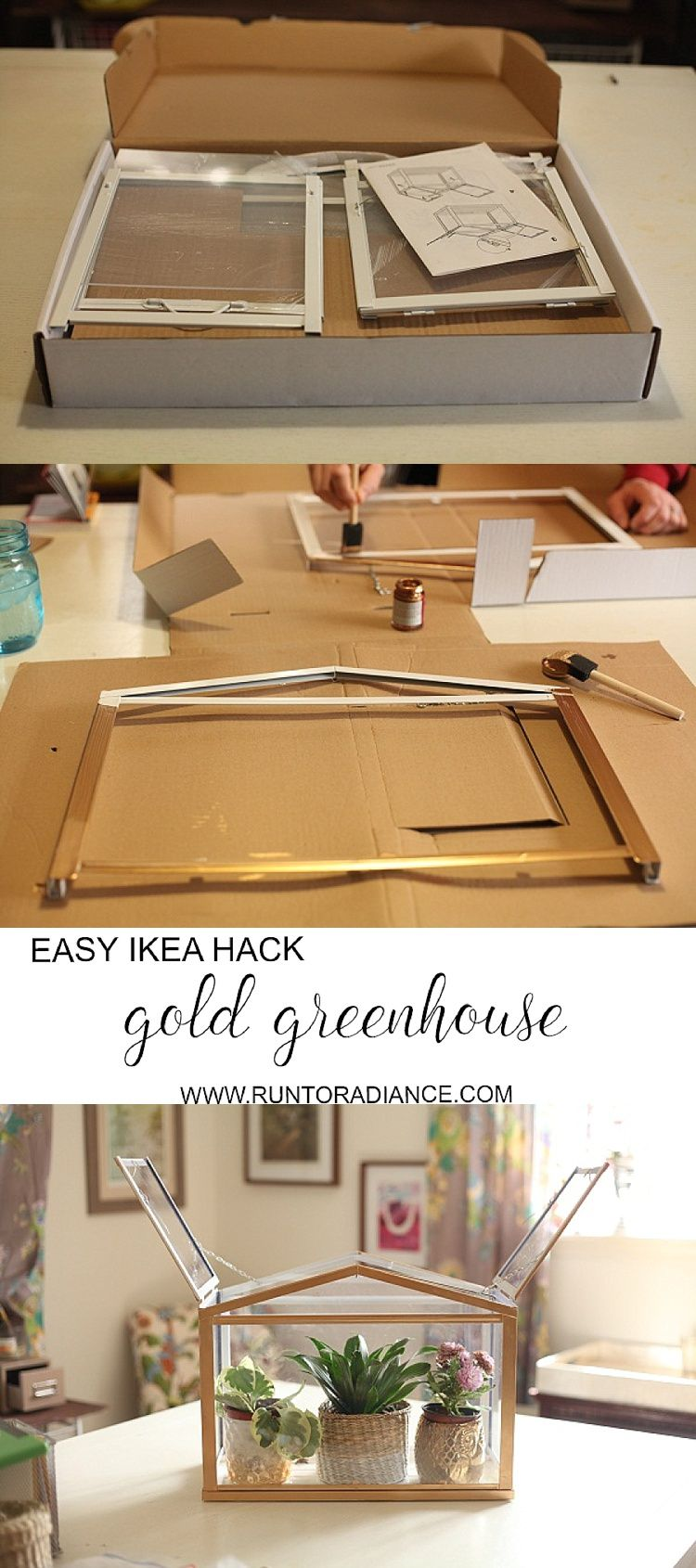 diy gold mini greenhouse from ikea caffeine curls pinterest deko sch ne zuhause und. Black Bedroom Furniture Sets. Home Design Ideas