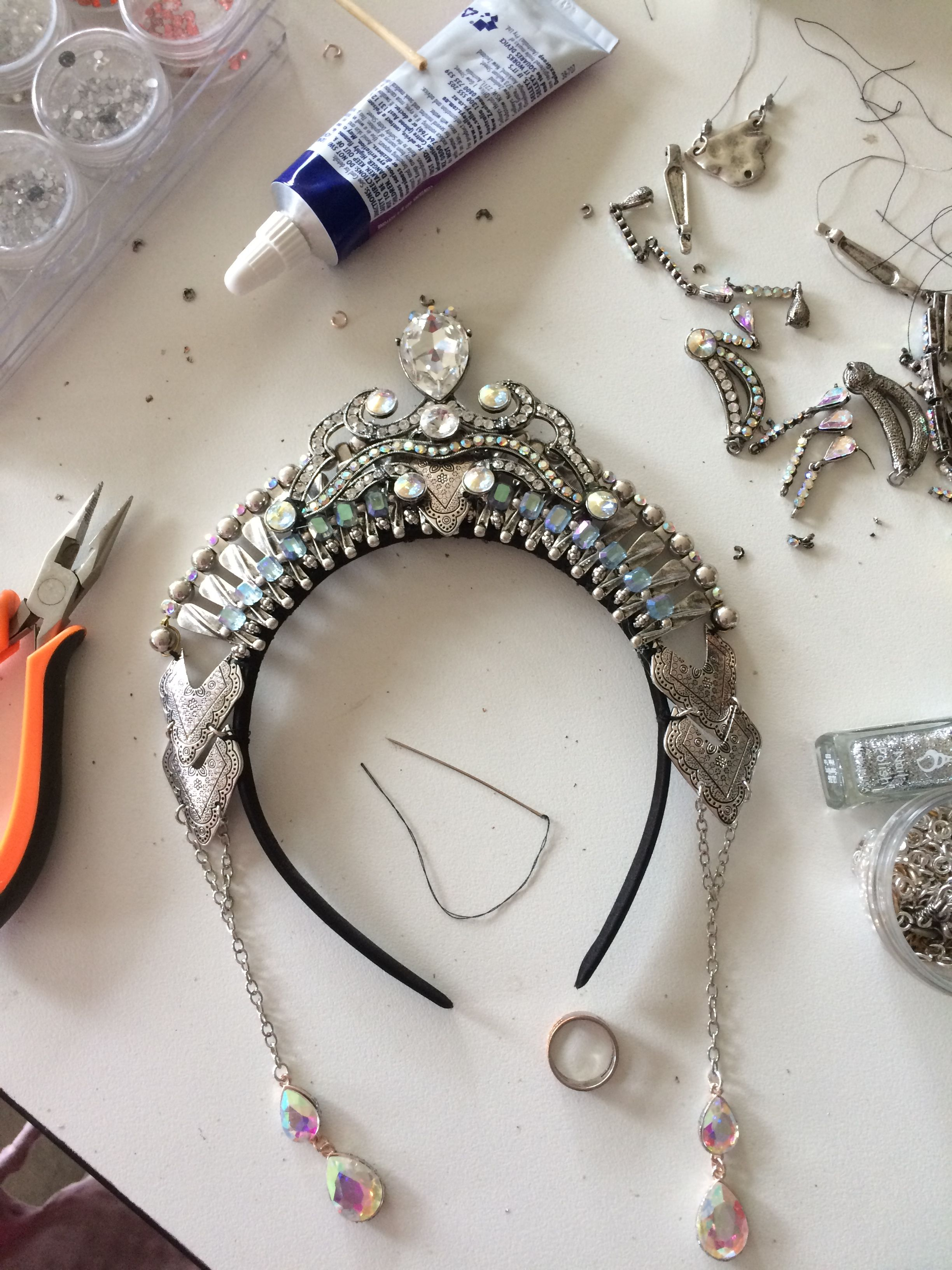 Recently honoured to create a beautiful headband for a regular customer to compliment a costume being worn her fringe show  Love doing one off luxe theatrical creations  This one is for an Ice theme #crowntiara