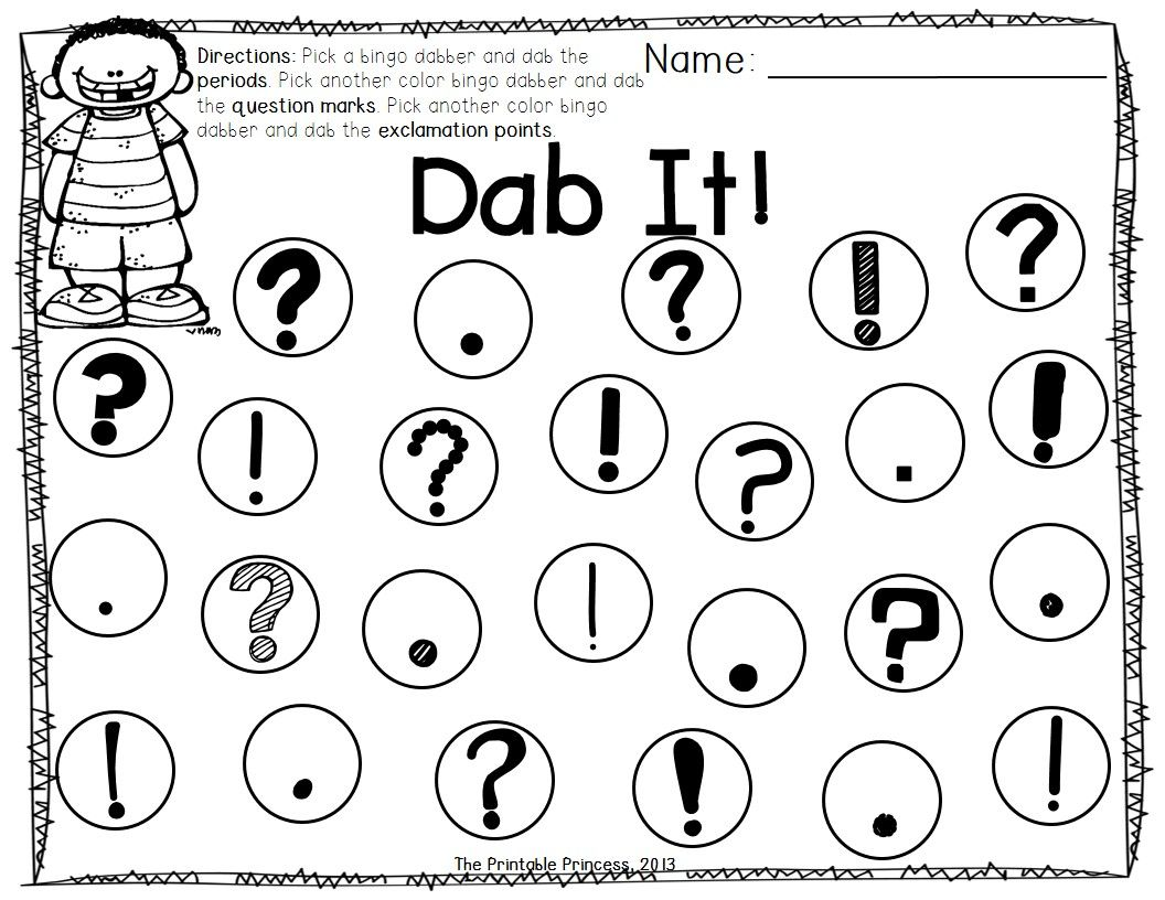 Coloring pages question mark - Kindergarten Literacy Centers Using Bingo Dabbers