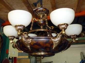 (1) Chandelier Bronze with Alabaster Shades Perfect for a marine environment in a home, or office $3,995.00 OBO