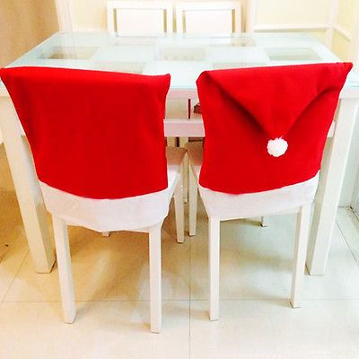 4 Pcs Santa Claus Red Hat Chair Back Cover For Dinner Party Table Decoration