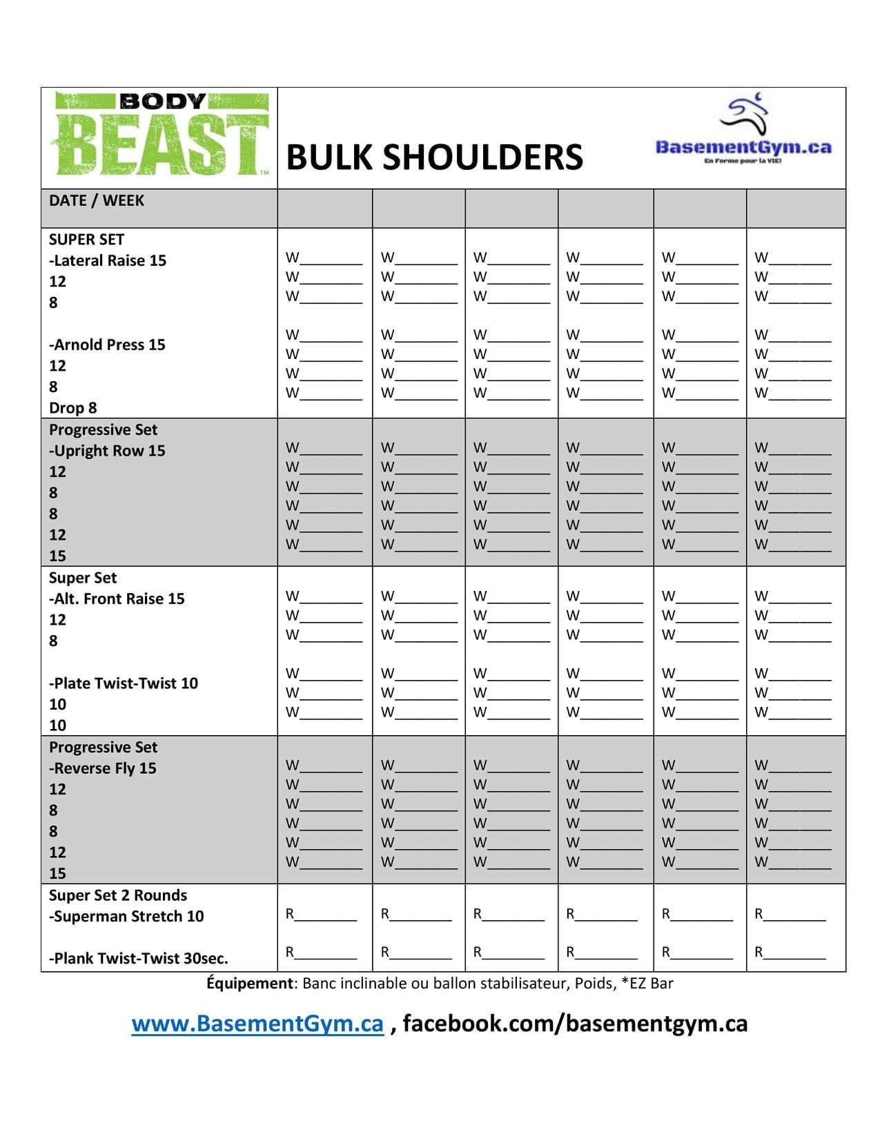 Body Beast Workout Sheet Bulk Chest