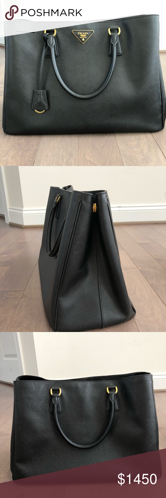"2311268428be ⭐️PRADA saffiano lux large tote black⭐ Gently used, in excellent condition  SIze: 15 x10x 6.5"" 5"" handle drop Gold tone hardware Top magnetic closure  ..."