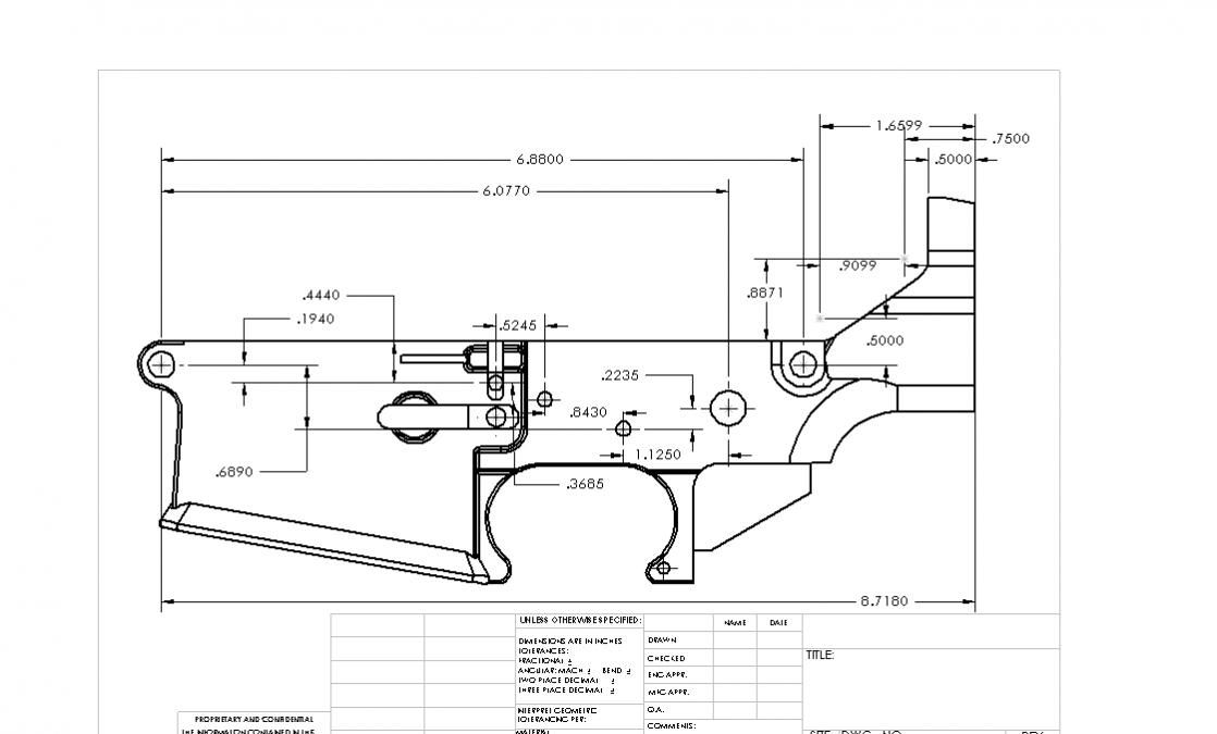 Billet ar 15 lower dimensions bing images for My blueprint arkansas