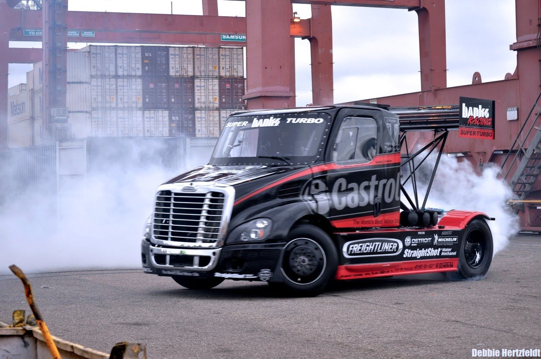 Size Matters 2 Mike Ryan Insane Gymkhana Style Semi Truck Drifting A Semi Trucks Trucks Freightliner Trucks