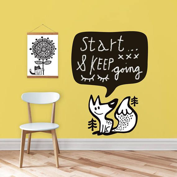 Chalkboard decal / woodland decal / Fox / wall decor / office decor ...