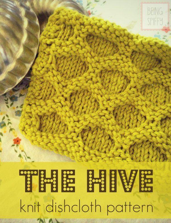 May 4 The Hive Knit Dishcloth Pattern | Tejido, Puntos y Puntadas