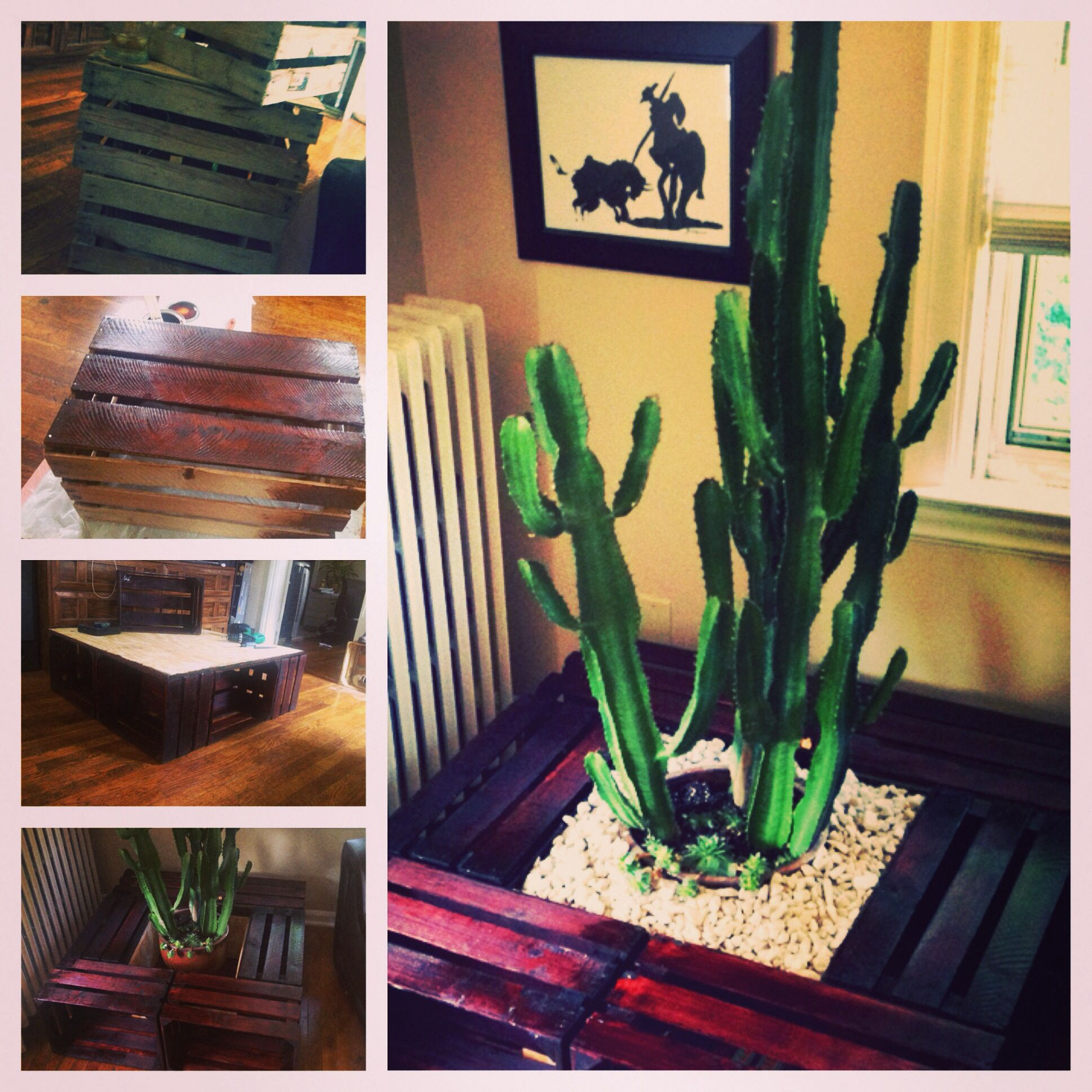 Weinregal Cactus Reclaimed Crates Sanded And Stained And Made Into An Elaborate