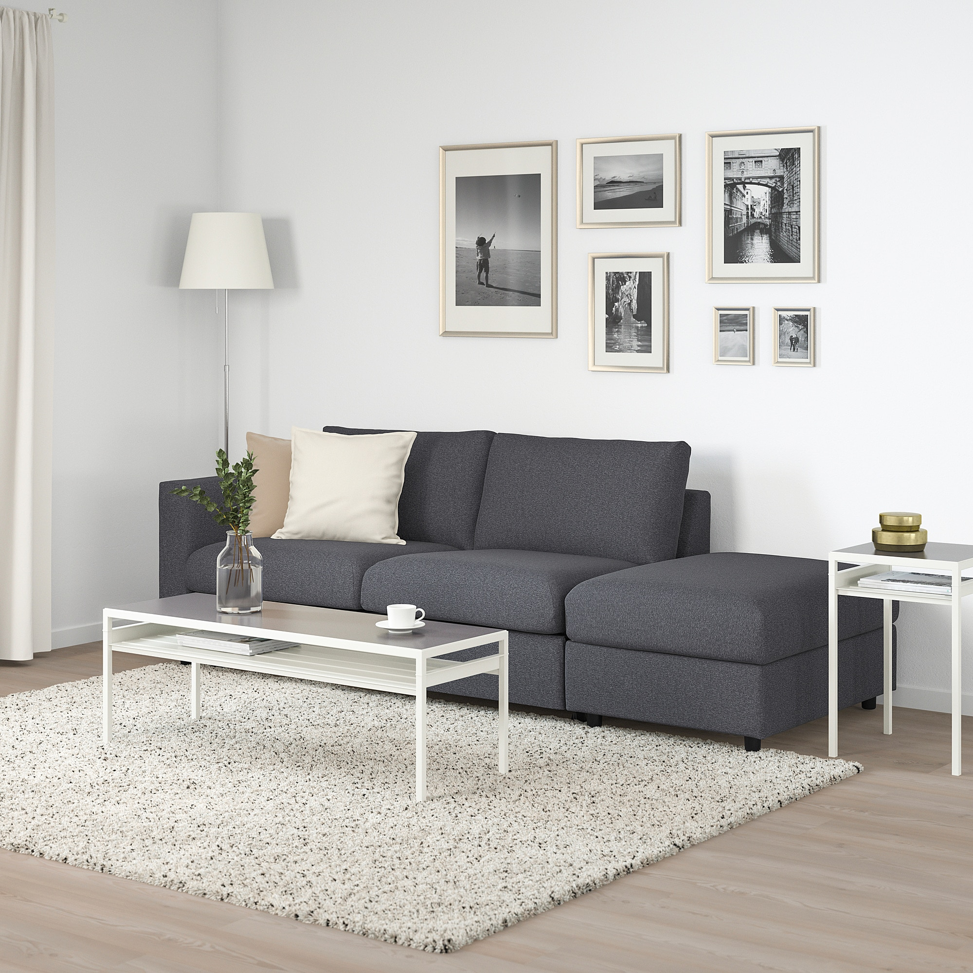 Ikea Vimle Sofabed With Chaise Open End Gunnared Medium Gray Canape Lit Deco Maison Matelas En Mousse