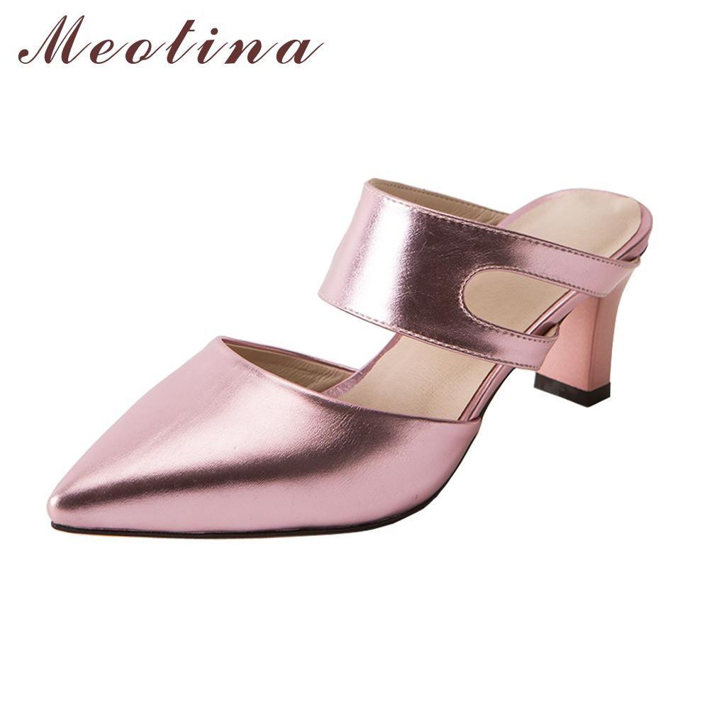 Wedding Shoes Zippay: Meoitna Mules Shoes Summer Women Slides High Heel Slippers