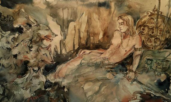 Cave of Fenrir Eternal Chaos Original Norse Mythology Painting