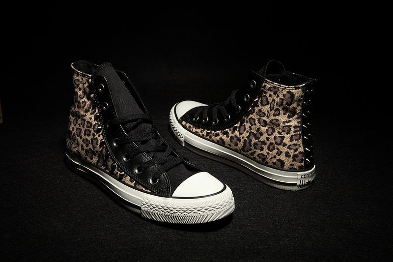 78ed84e917c Converse Leopard Brown Black Studded High Tops Chuck Taylor All Star Womens Shoes  All Star