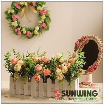 Artificial Flower Wood Fence A Decoration For Your Beautiful House Artificial Flower Arrangements Home Wedding Decorations Flower Decorations