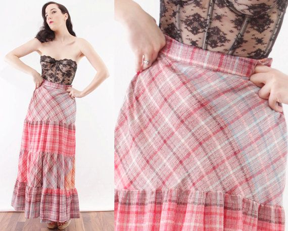 60s Plaid Full Length Maxi Skirt Paneled Ruffled by BGSvintage
