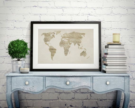 Map of the world map from old sheet music art print canvas art map of the world map from old sheet music art by vintageartposters gumiabroncs Images