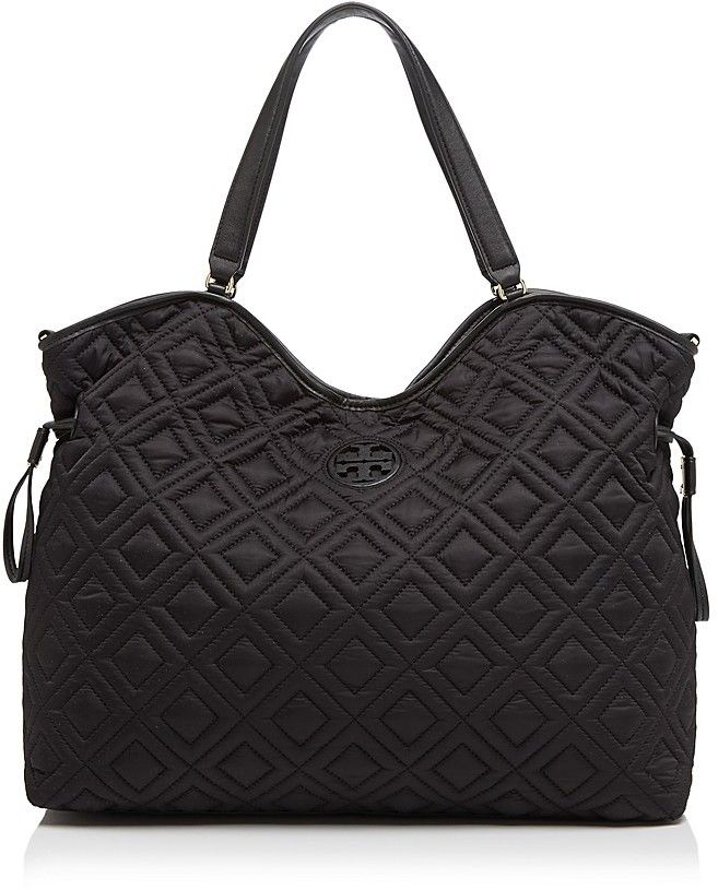 Tory Burch Diaper Bag Quilted Slouchy Designer Black Stylish Mom Organized