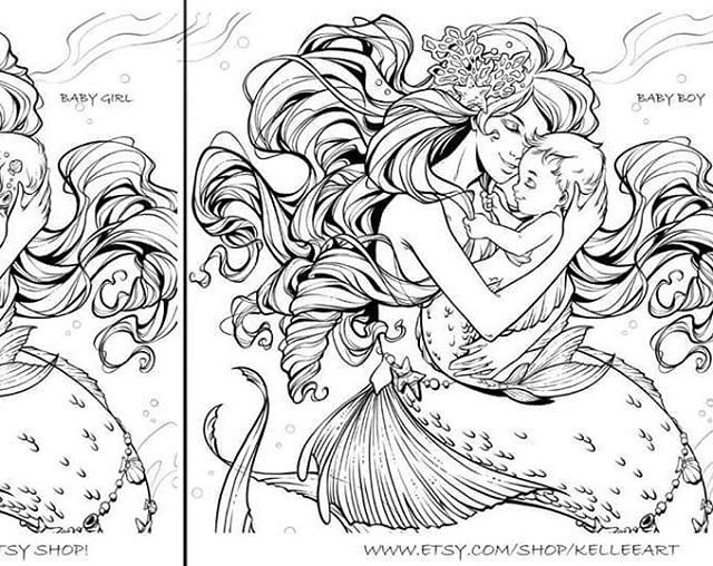 For Those That Have Asked My Coloring Page Is Now Available And The File Has Both A Baby Girl And Baby Boy Baby Mermaid Mermaid Coloring Pages Mermaid Artwork