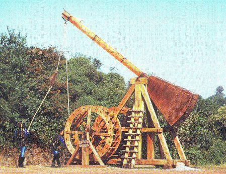 trebuchets A hurling engine with a long arm that pivots between two posts at one end of the arm is a weight, at the other is a sling or simply a projectile.