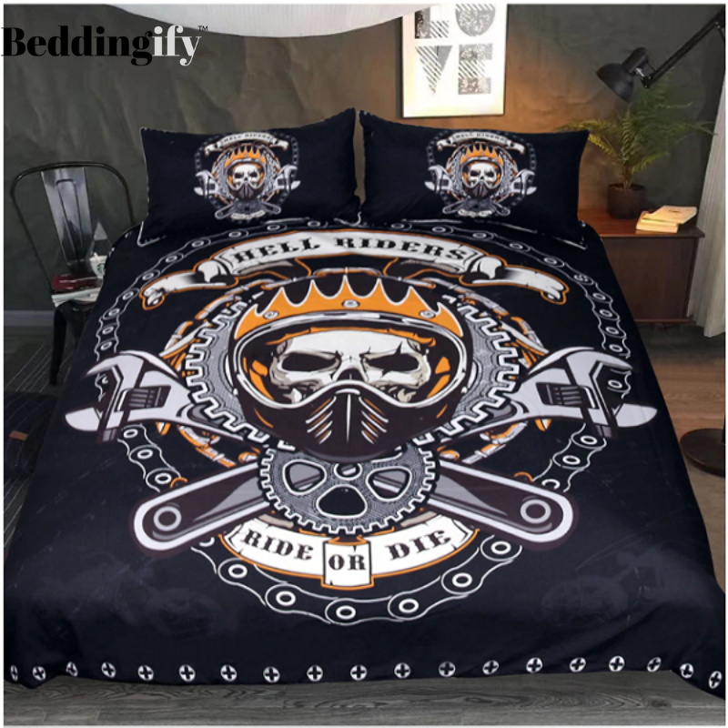 Mechanical Skull 3 Pieces Quilted Comforter Set In 2021 Skull Bedding Sets Bedding Sets Skull Bedding