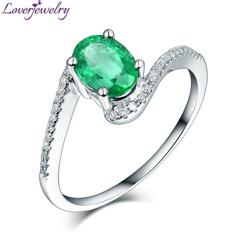 New Style Oval 5x7mm Emerald Diamond 18Kt White Gold Engagement ...