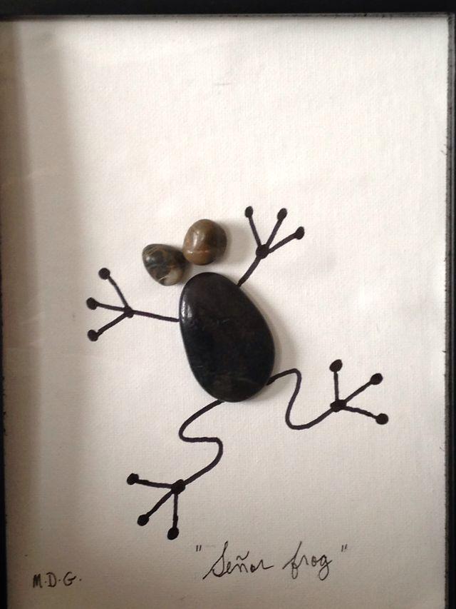 steincollage bild aus steinen frosch art rocks pinterest fr sche steinbilder und steine. Black Bedroom Furniture Sets. Home Design Ideas